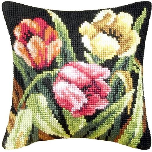 Tumbling tulipanes cojín - Kit de punto de cruz: Amazon.es ...