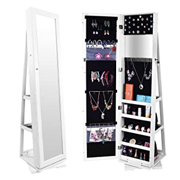 Amazoncom Bonnlo Mirrored Jewelry Armoire Cabinet 360 Degree