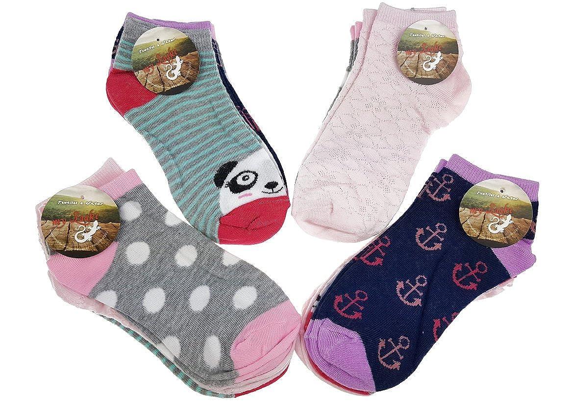12 Paar original SNEAK ON! Mädchen Sneaker Socken Kids Kinder Strümpfe 95% Baumwolle Bunt