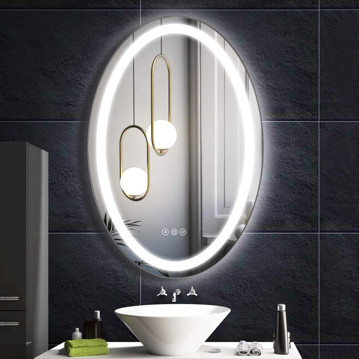 Amazon Com Fumango Wall Mounted Lighted Mirror Led Bathroom Makeup Vanity Mirror With Smarttouch Warm Natural Daylight Led Tones High Lumen Cri 90 Fogless J235 Home Kitchen