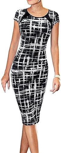 Women's Summer Casual Black Striped Print Wear to Work Sheath Dress