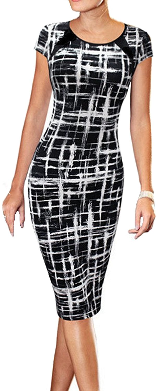Women's Summer Casual Black Striped Print Wear to Work Sheath Dress Black Medium