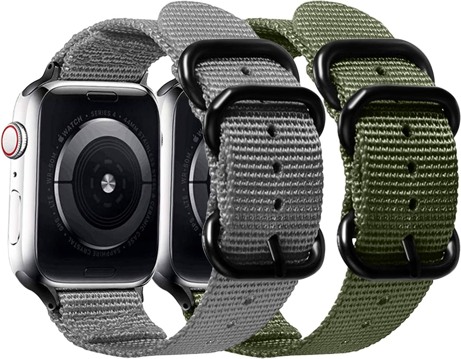 Misker Nylon Band Compatible with Apple Watch Band 44mm 42mm 40mm 38mm,Breathable Sport Strap with Metal Buckle Compatible with iwatch Series 5/4/3/2/1 (2-Packs Army Green/Gray, 42mm/44mm)