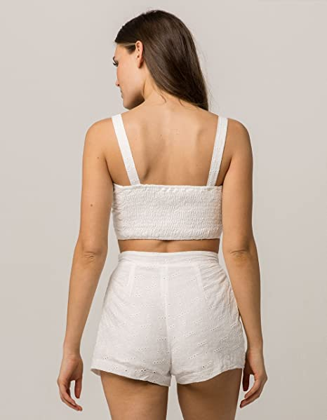 4dbe846975f9f EN Creme Eyelet Crop Top and Shorts Set at Amazon Women s Clothing store