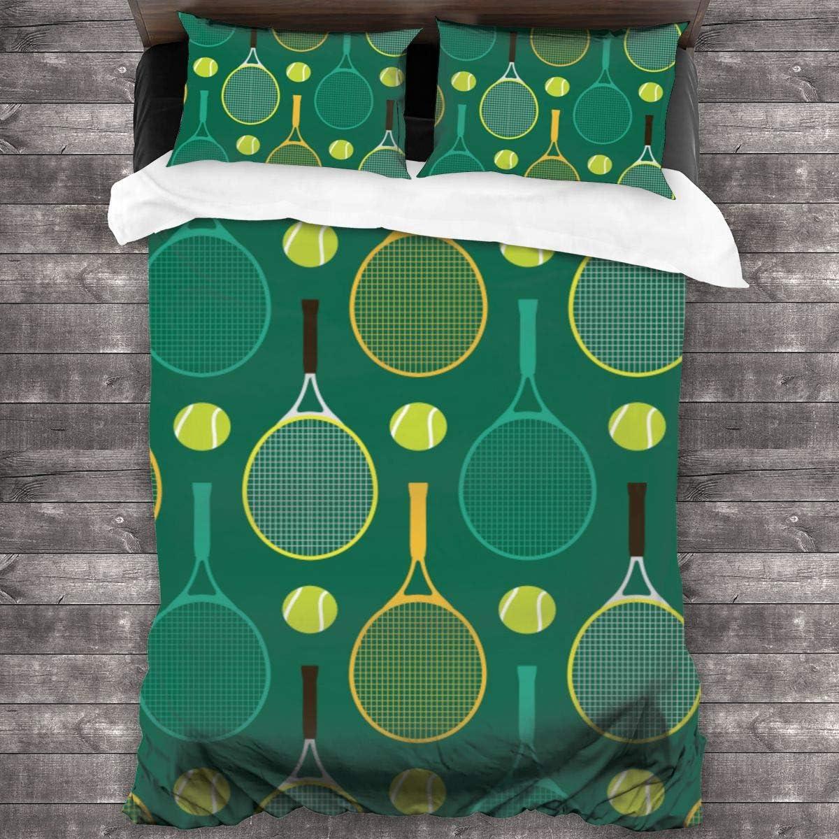MAYUES 3 Piezas Juego Funda De Diseño Personalizado,Raqueta De Tenis De Dibujos Animados Tenis,Ropa de Cama Set 1 Edredón 2 Fundas de Almohada Microfibra jueg(135 * 210cm)