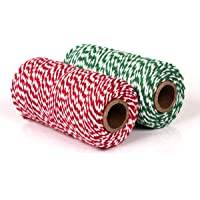 YIQI 200M touw touw, ambachtelijke katoenen draad bakkers touw voor bakken, slagers, ambachten, verpakking (rood + groen…