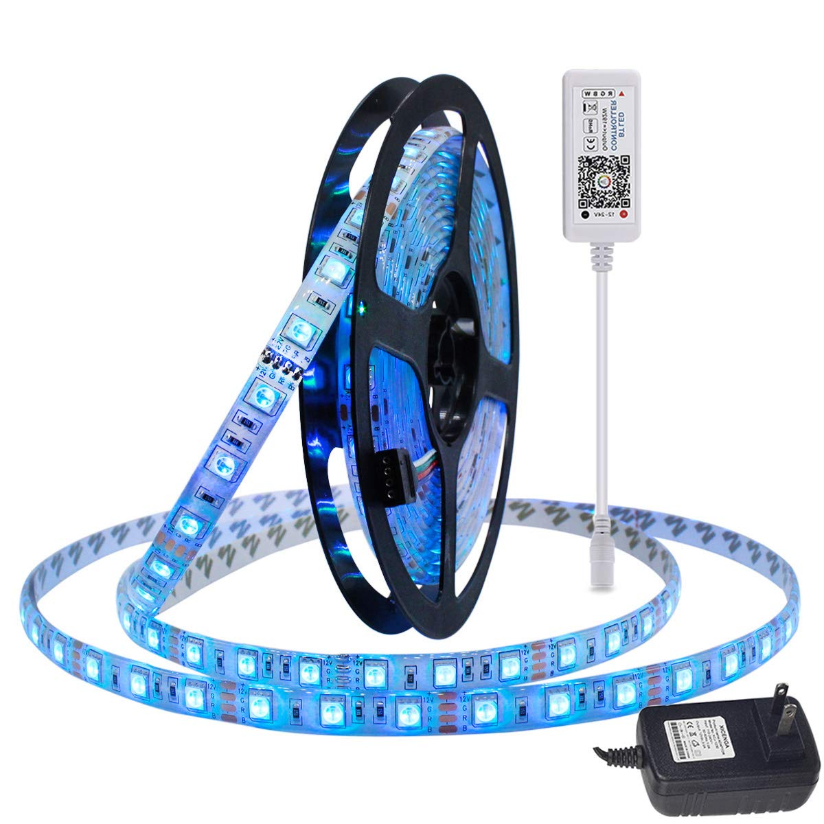 LAIMAIK RGB LED Strip Light kit with Bluetooth Controller Dimmable + Power Supply Waterproof IP68 SMD 5050 LED Ribbon Tape DC12V with self Adhesive Flexible Strips for Home Lighting