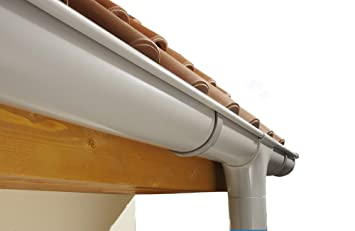 Funke Dachrinnenset Regenrinne Dachrinne Set halbrunde Rinne RG 75 grau bis 8 Meter