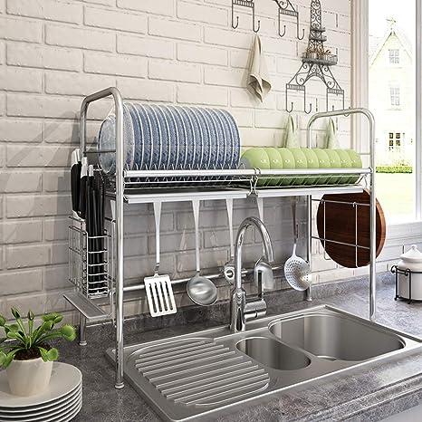 Montaje Estante de la cocina,Desagüe de fregadero de acero ...