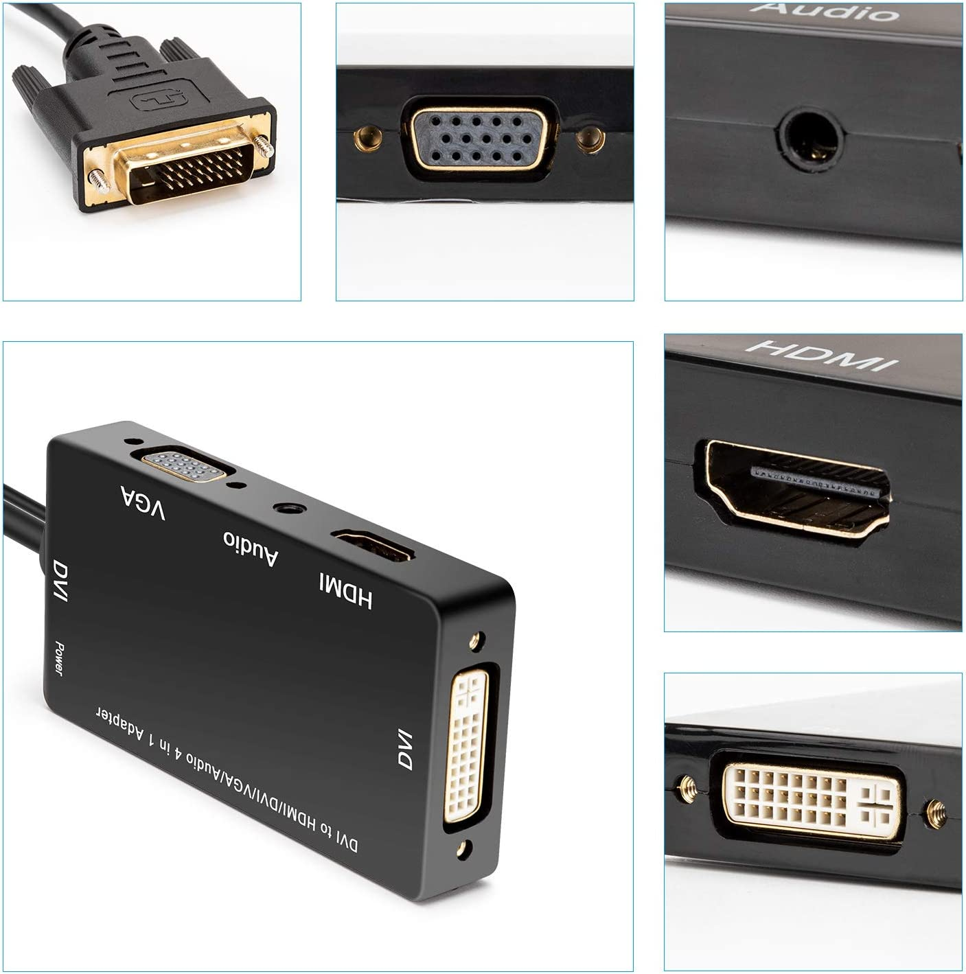 CABLEDECONN 4-in-1 DVI to HDMI VGA DVI Adapter Multi-Function Active DVI 24+1 Cable with Micro USB Audio 3.5mm Jack