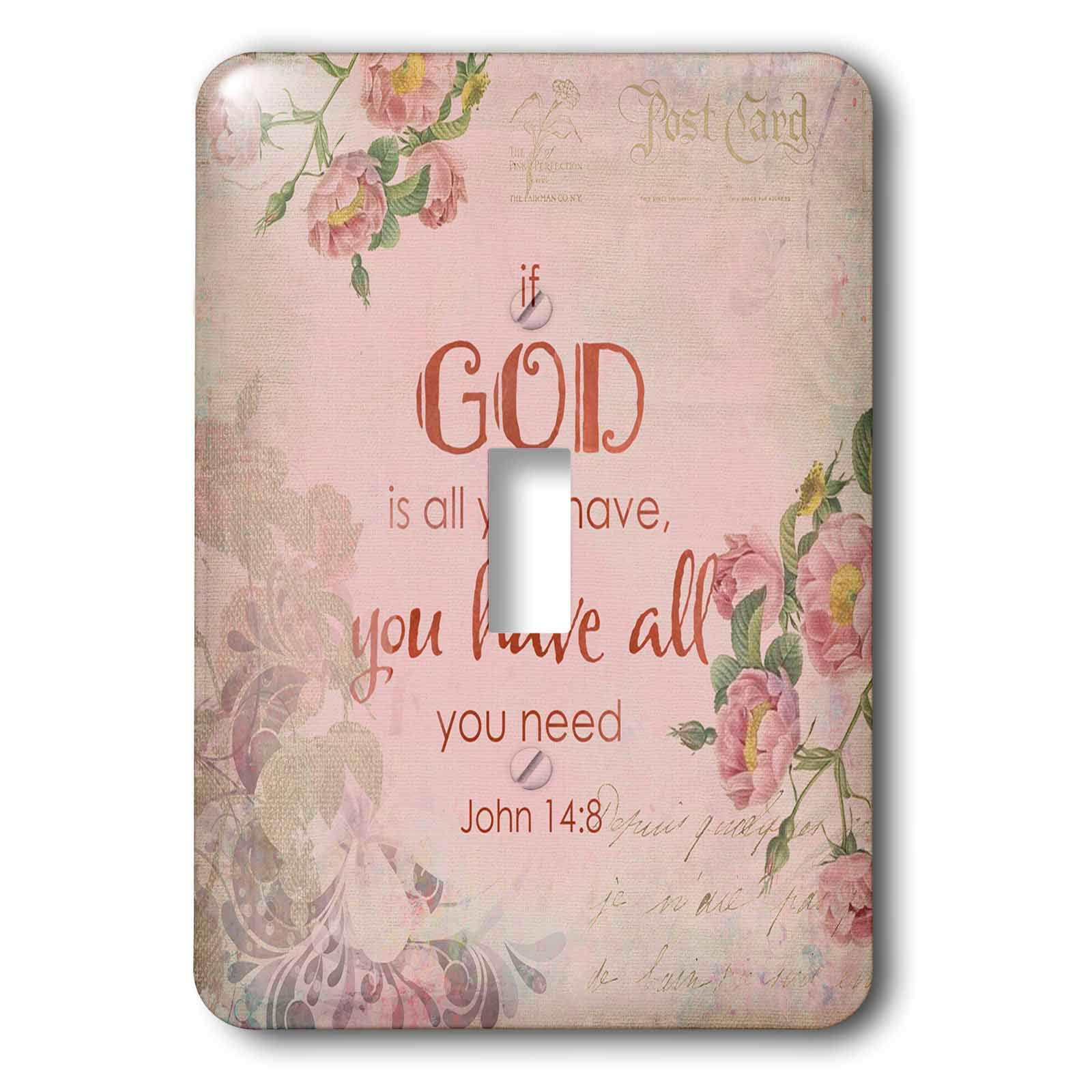3dRose Andrea Haase Inspirational Typography - Pink Christian Quote Typography If God Is All You Have You Have All - Light Switch Covers - single toggle switch (lsp_289418_1)