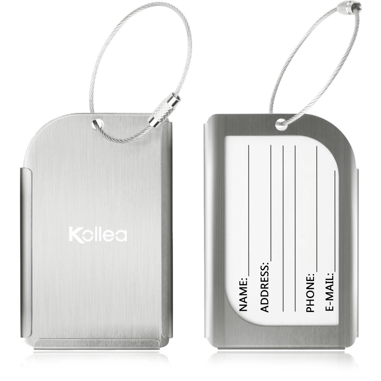 Bagages Étiquettes, Kollea Luggage Tag en Aluminium, 2 Pack Etiquette Valise avec Fenêtre Transparente et Boucle en Acier Inoxydable, Coffret Cadeau, Argent product image