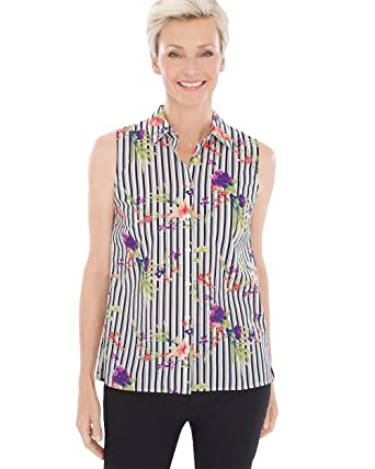 7df8c40dd3da0 Chico s Women s No-Iron Sleeveless Floral Striped Button-Back Shirt Size 4  S (0) Multi at Amazon Women s Clothing store