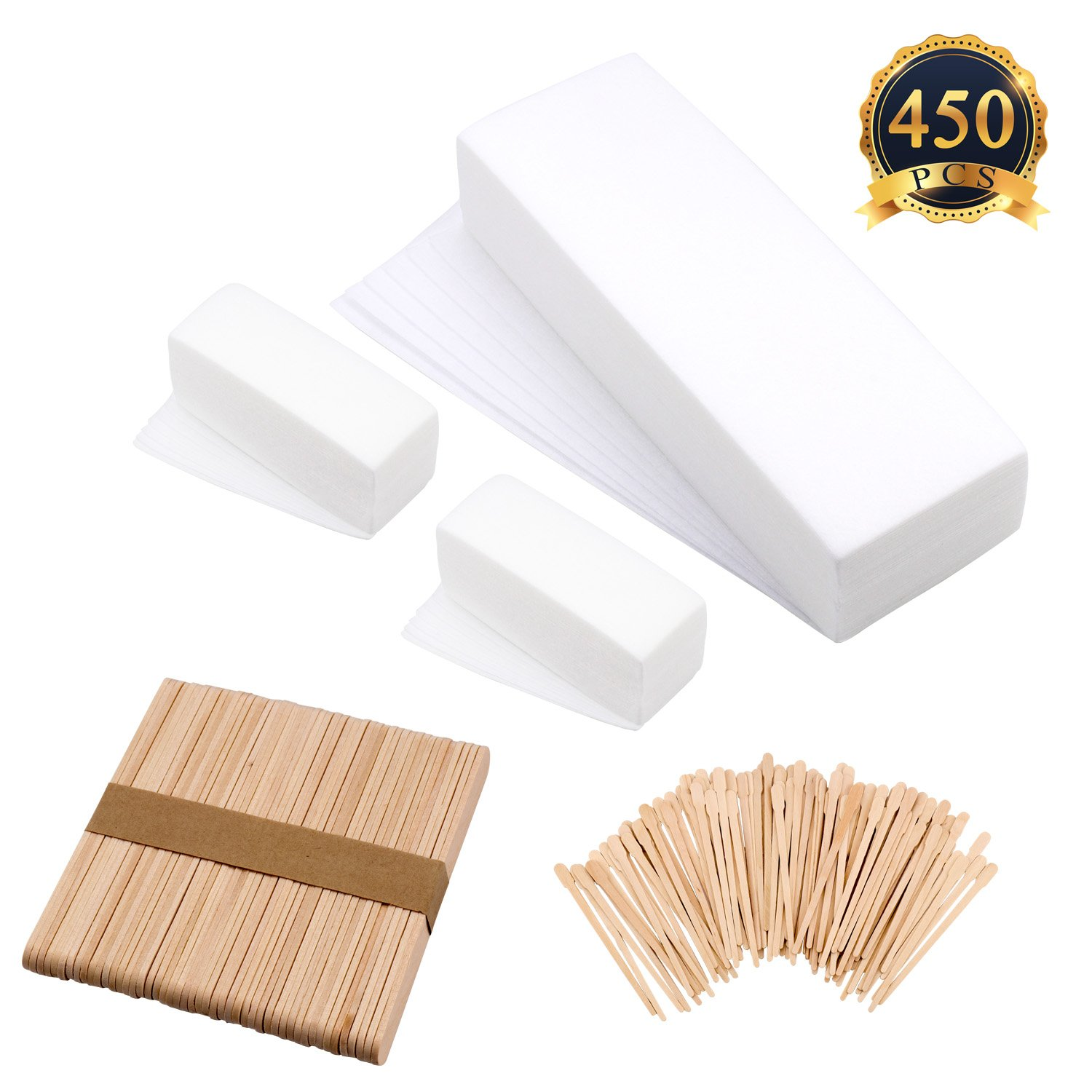 SUBANG 300 Pieces Waxing Strip Non-woven Wax Strip Hair Removal Wax Strips and 150 Pieces Wax Applicator Sticks