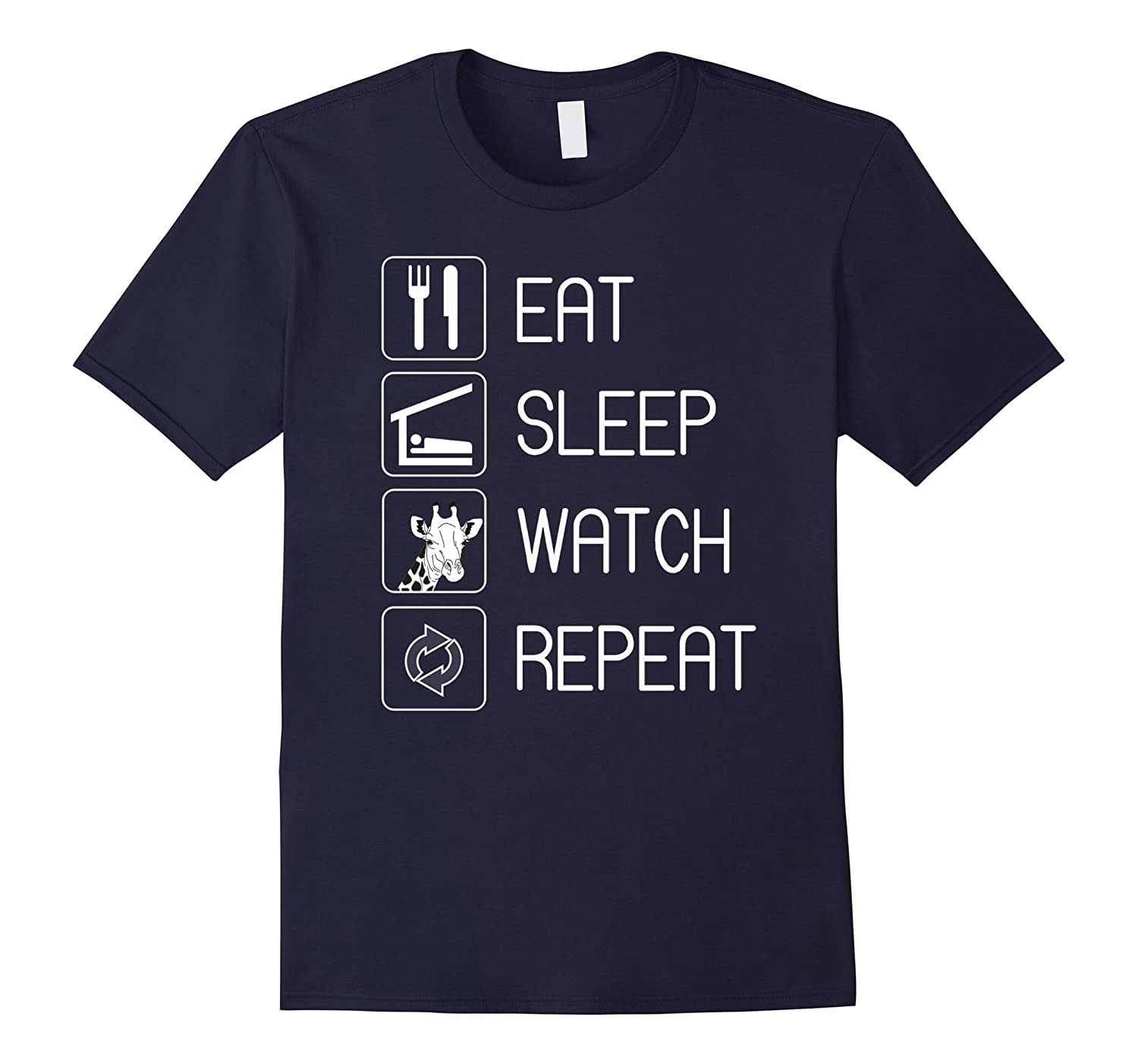 EAT SLEEP WATCH MOTHER GIRAFFE REPEAT TSHIRT-Vaci