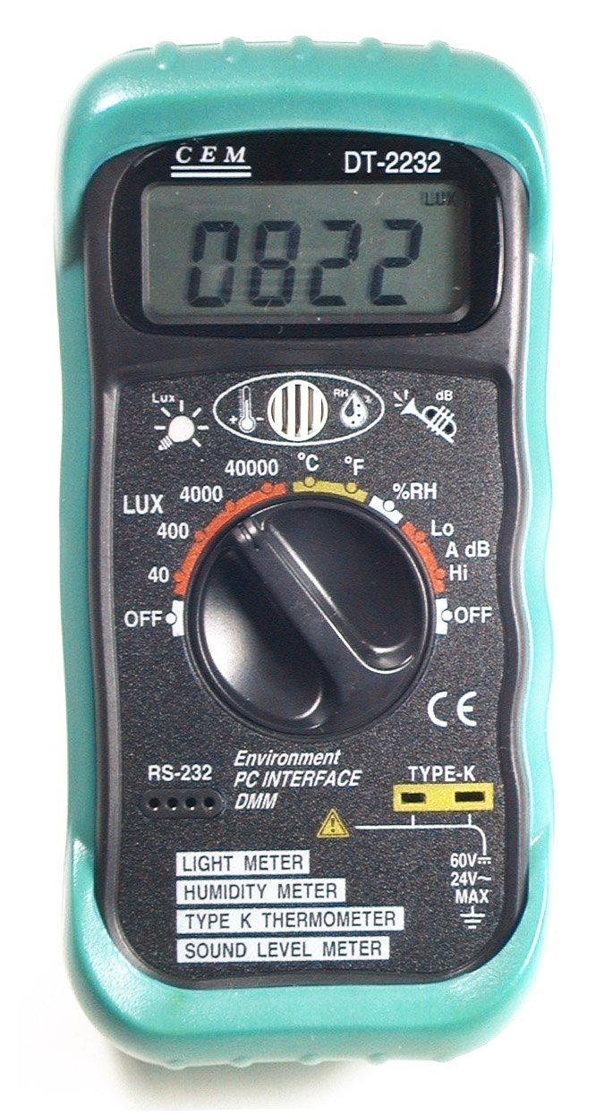 Ruby Electronics DT-2232 4-in-1 Digital Thermometer Light Humidity Sound Meter RS-232 Serial Port