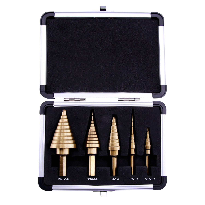LU&MA HSS Titanium Step Drill Bit Set, High Speed Steel, 5 Pieces, Multiple 50 Sizes, Double Cutting Blades Design with Aluminum Case