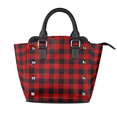 0bef0585b873 Amazon.com  Use4 Black Red Buffalo Plaid Christmas Rivet PU Leather Tote  Bag Shoulder Bag Purse  Clothing