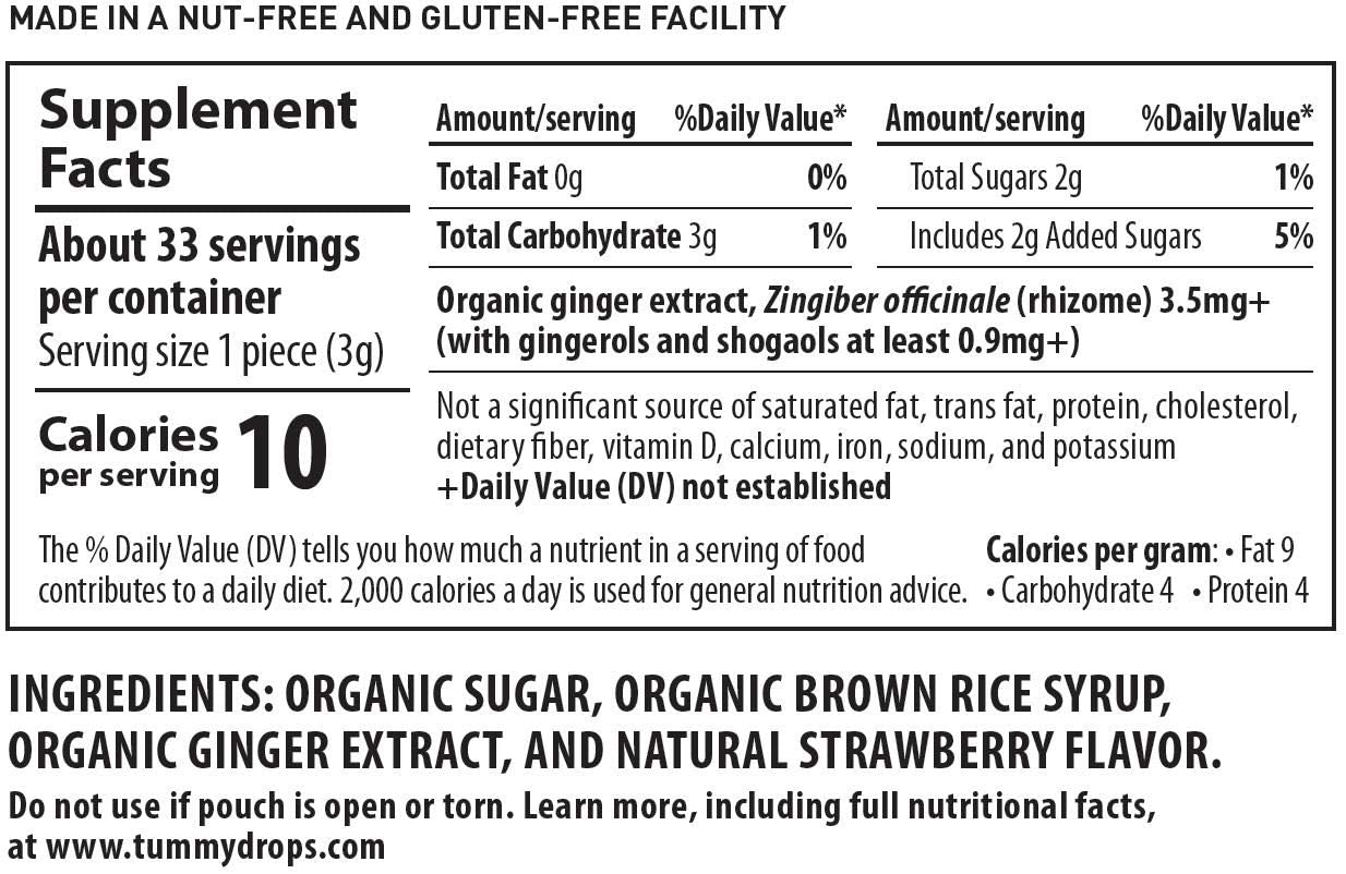 Natural Ginger Tummydrops (Resealable Bag of 30 Individually Wrapped Drops) Certified Oregon Tilth USDA Organic, Non-GMO Project, GFCO Gluten-Free, and Kof-K Kosher: Health & Personal Care