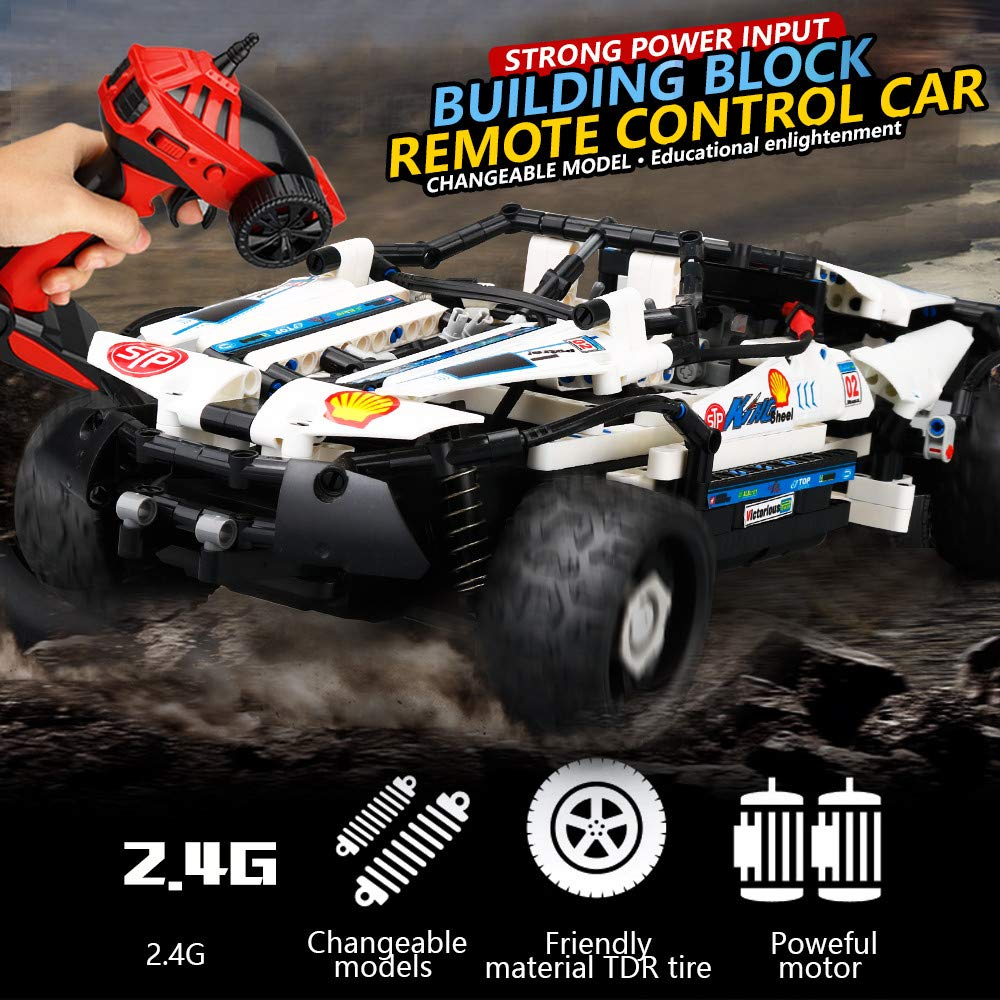 DIY Kit R/C 10 in 1 Race Cars Building Bricks Radio Control Racing Toy,Remote Control High Speed Racing Vehicles Car Toy Track Cars Toys Birthday Gift for Kids Toddlers Boys Girls Adults (A) by DICPOLIA (Image #5)