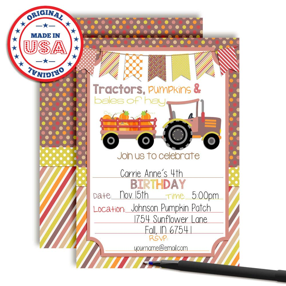 Amazon.com: Fall Tractor with Pumpkins Birthday Party Invitations ...