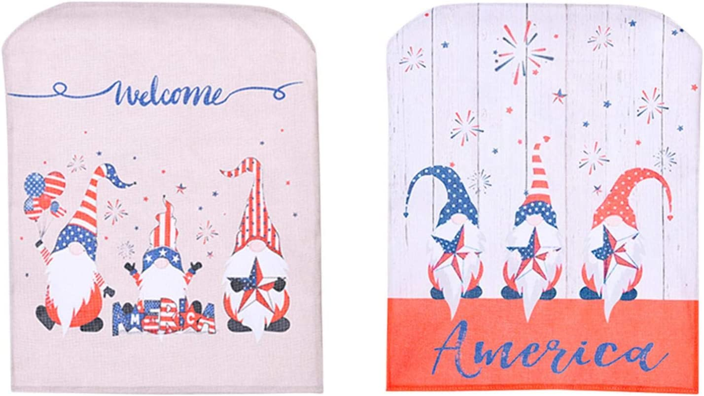 2PCS Independence Day Chair Cover, Print with America Welcome, Dining Table and Chair Cover Faceless Doll Furniture Decoration, for Independence Day Home Decoration and Gift
