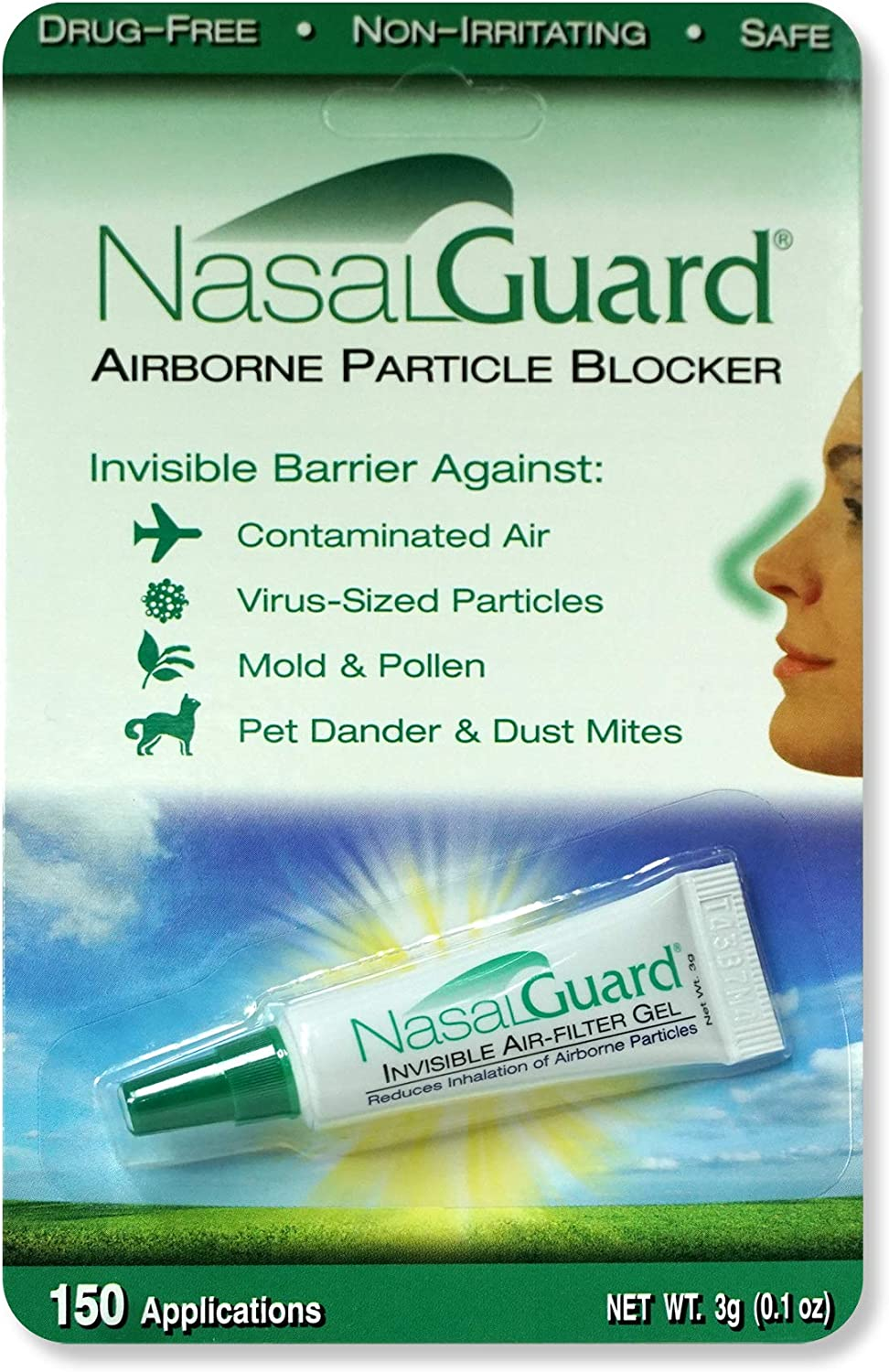 NASALGUARD Allergy Relief and Allergen Blocker Nasal Gel - Drug-Free and Proven Safe for Pollen Allergy Sufferers, Approved for Adults and Children - Over 150 Applications Per Tube