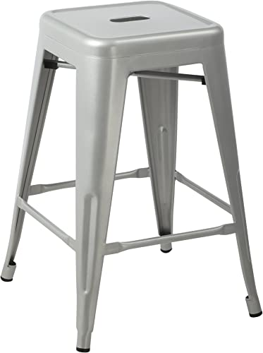 Silver 24-inch Metal Counter Bar Stools Set of 2