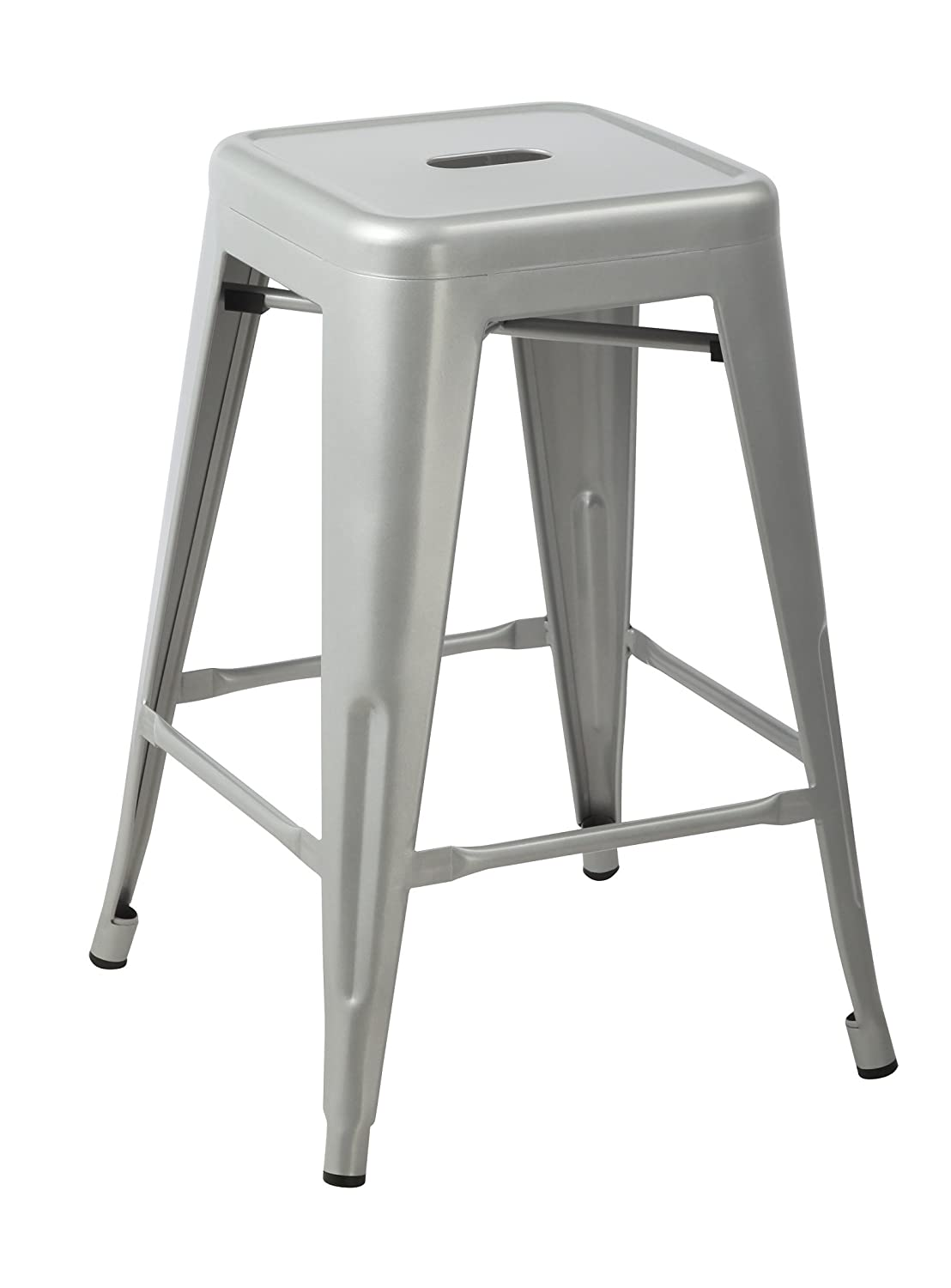 Good Amazon.com: Silver 24 Inch Metal Counter Bar Stools (Set Of 2): Kitchen U0026  Dining