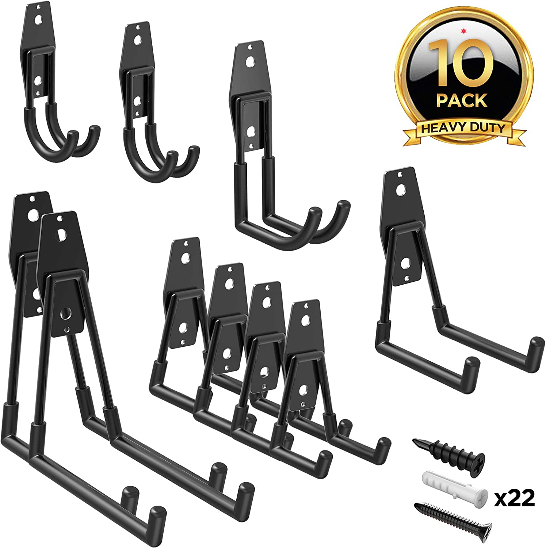 ORASANT Garage Hooks 10-Pack, Heavy Duty Metal Garage Storage Hooks for Garage Organization, Super Strong Tool Hangers Garage Hangers, Garage Wall Hangers for Bikes, Ladders, Power Tools etc. (Black)