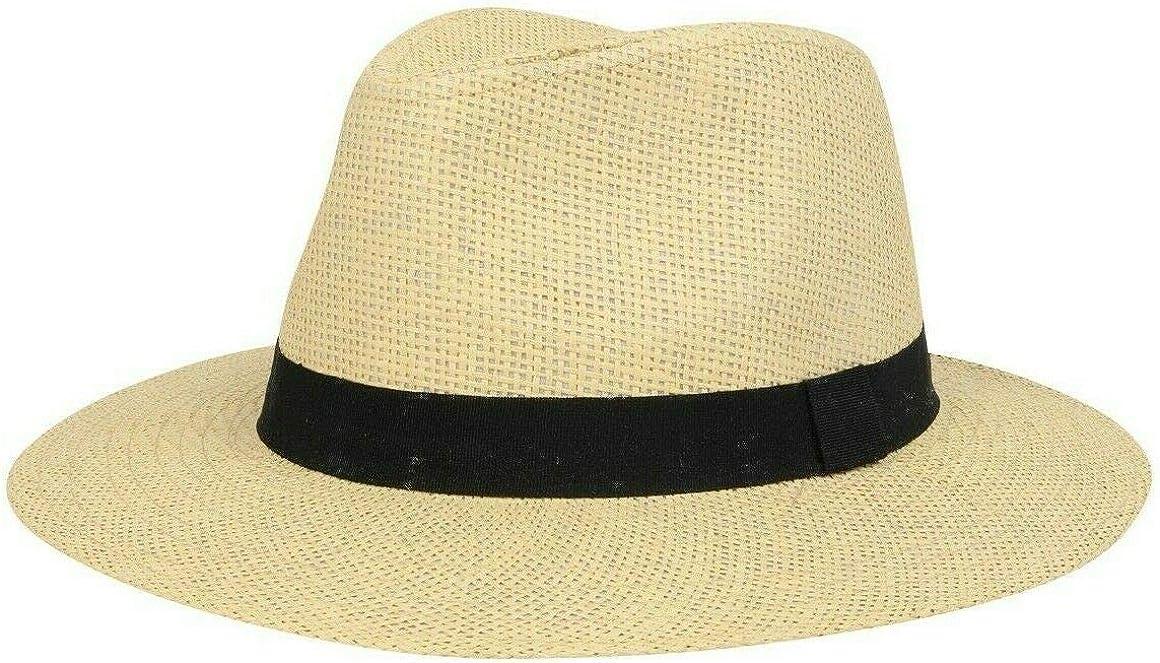 Nicky Adams Panama - Sombrero de Paja de Papel para el Sol, Estilo Fedora, Unisex Natural o Crema