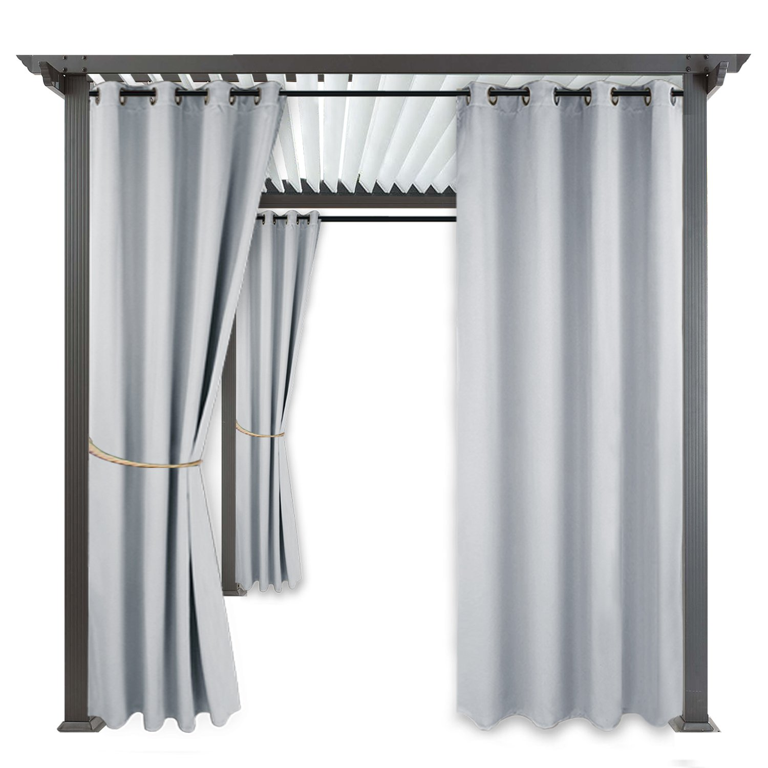 RYB HOME 108'' Pergola Curtain - Blackout Shades Outdoor Décor Top Ring Grommet Rust Proof Water Repellent Privacy Protect for Side Wall/Patio / Cabana, 1 Panel, 52'' x 108'', Greyish White