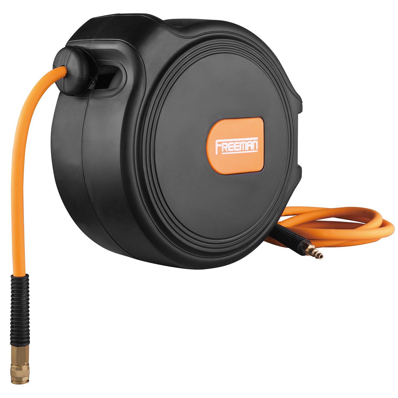 "Freeman 1/4"" x 65' Compact Retractable Air Hose Reel w/Fittings"