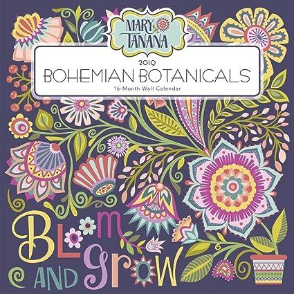2019 bohemian botanicals 2019 wall calendar flower art by leap year publishing