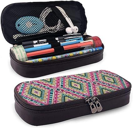 Lindo estuche para lápices, diseño tradicional étnico geométrico, estilo antiguo, diseño tribal, soporte perfecto para lápices y bolígrafos: Amazon.es: Oficina y papelería