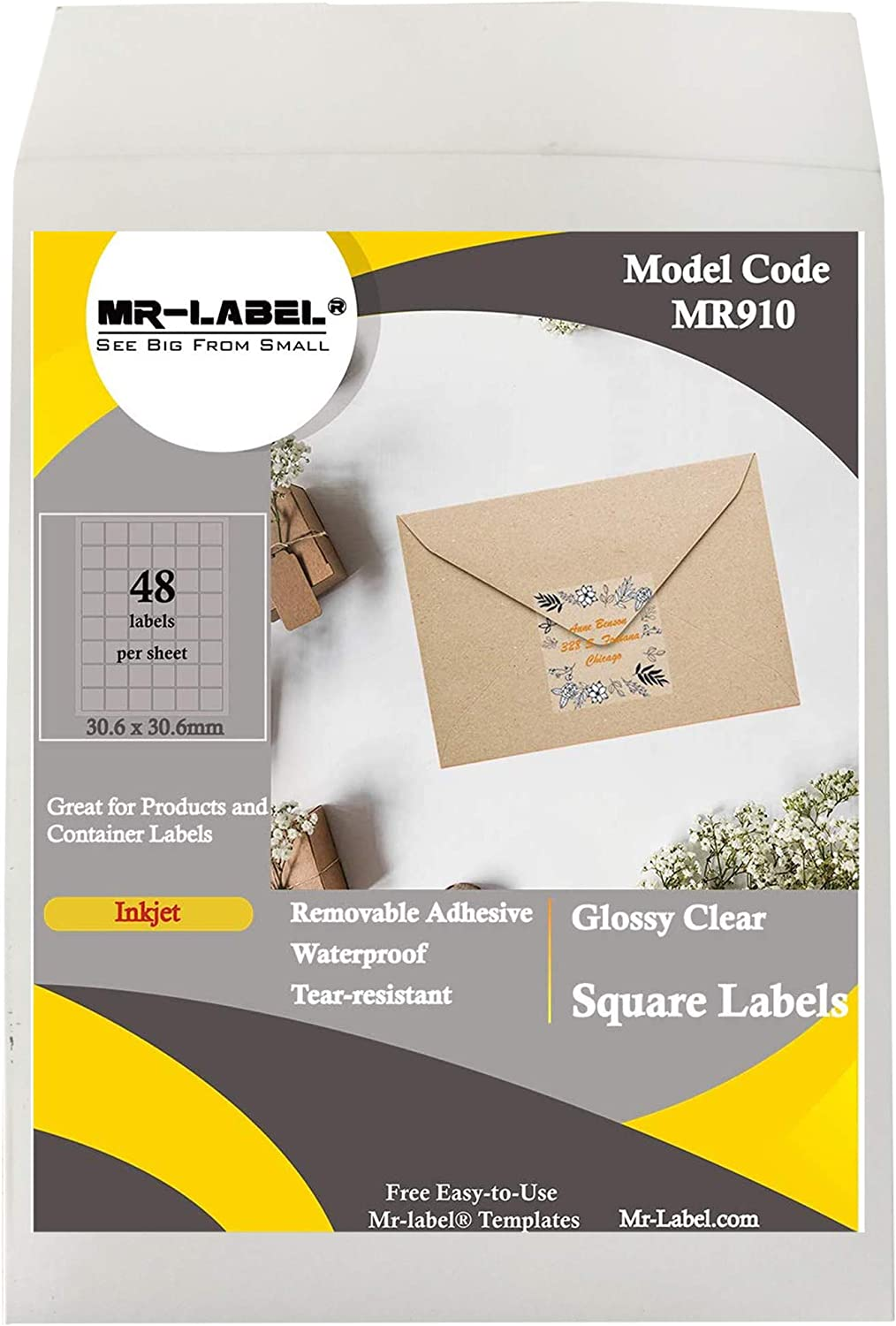 Mr-Label 30.6 mm Glossy Clear Square Labels for Inkjet Printer - Removable Self-Adhesive - Waterproof and Tear-Resistant - 48 Labels per Sheet (10)