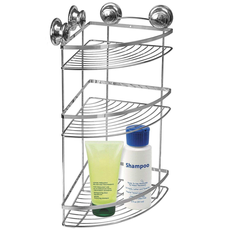 Tatkraft Spring Bathroom Corner Rack 3 Shelves Free Suction Cups No Drill 12X8, 5X20 5X20 FBA_16002