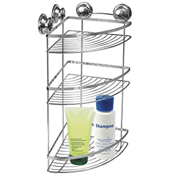 Tatkraft Spring Bathroom Corner Rack Shelves Vacuum Suction