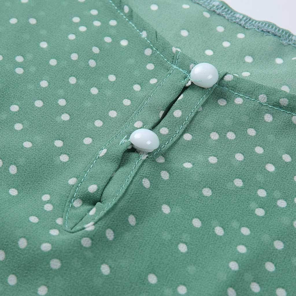 Womens Casual Dot Print Pearl Decor Ruffle Sleeve Keyhole Front Top Shirt Blouse