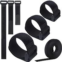VoJoPi Bridas Reutilizables, 25 Piezas Ajustable Ataduras Cable con Nailon Cable Ties, Gancho y Bucle Cable Correas…