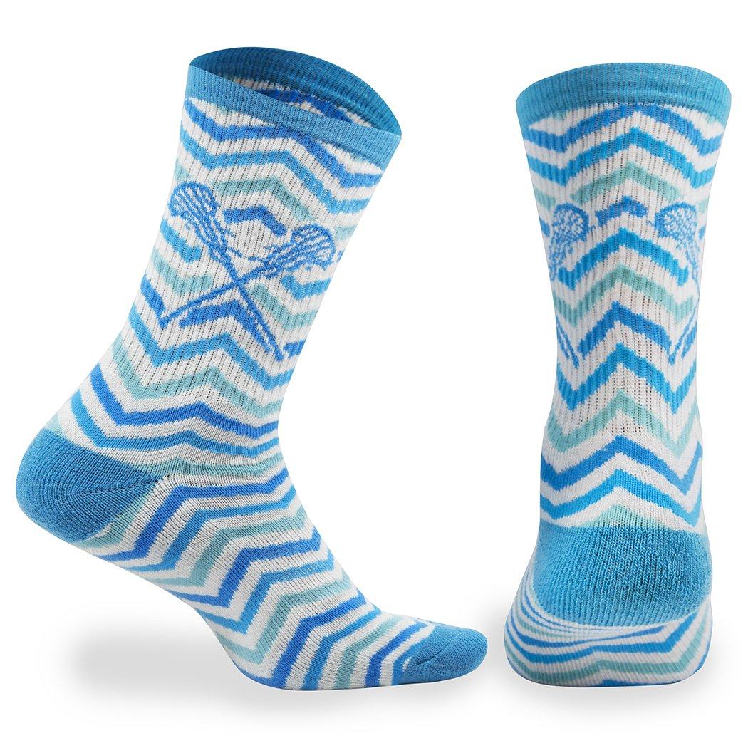 ChalkTalk SPORTS Athletic Half Cushioned Lacrosse Crew Socks   Mid Calf   Woven Chevron   White, Blue and Teal