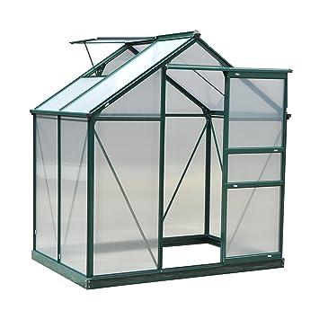 Outsunny Serre de Jardin Aluminium Polycarbonate 2,51 m² dim. 1,9L x 1,32l  x 2,01H m Lucarne, Porte coulissante + Fondation Incluse alu. Vert ...