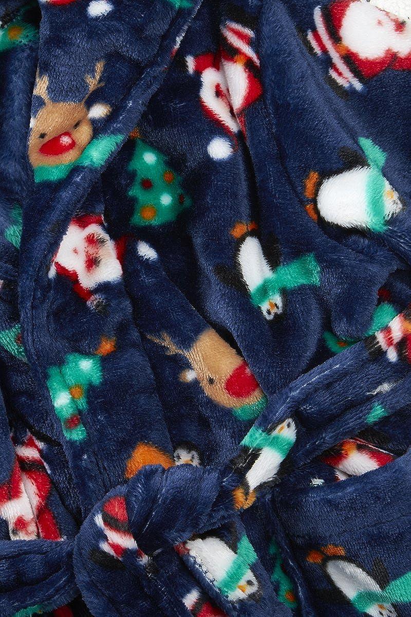 4 KIDZ Festive Christmas Santa Childs Hooded Dressing Gown Robe