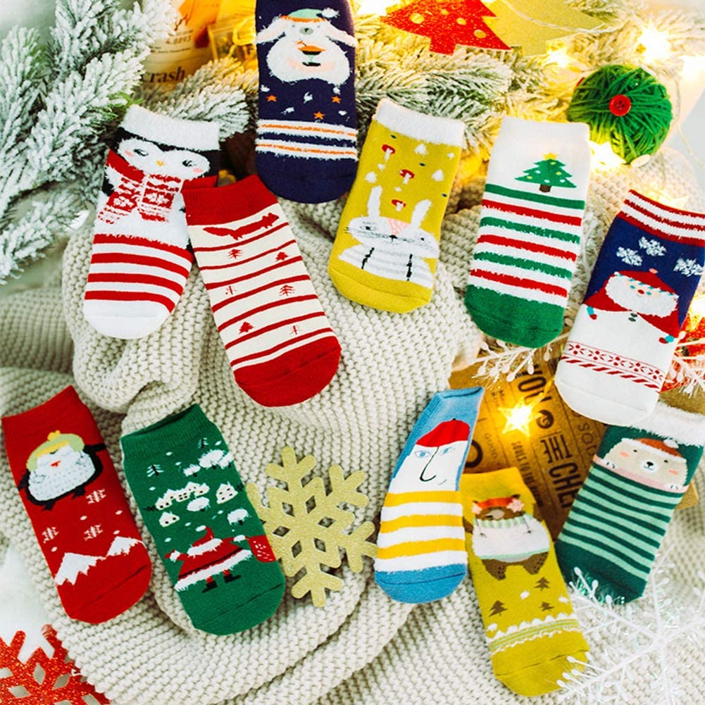 elegantstunning 3Pairs//Set Cartoon Christmas Style Children Thickened Low Tube Warm Socks Christmas Illustration M About 3-5 Years Old