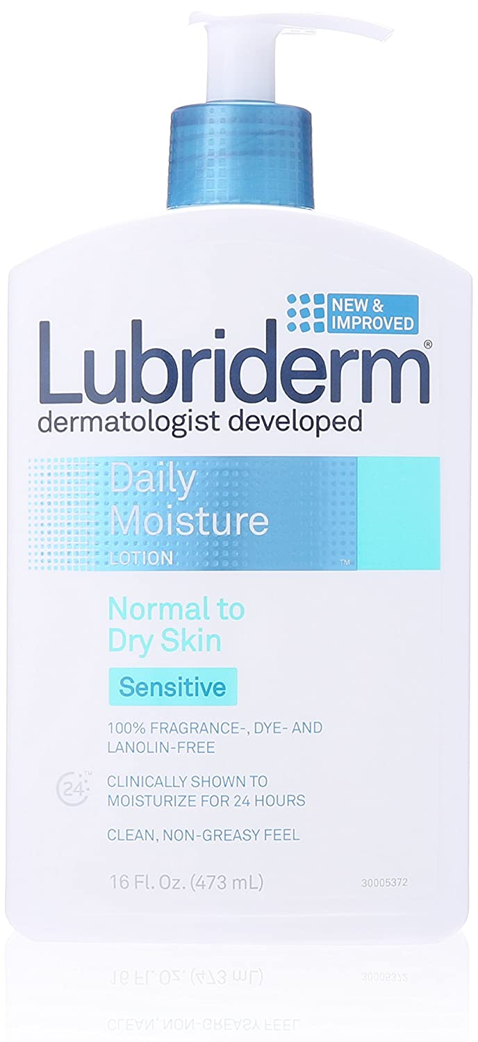 Lubriderm Daily Moisture Body Lotion for Sensitive, Dry Skin, Enriched with Vitamin B5, Dye and Lanolin Free, Unscented and Non-Greasy, 16 fl. oz (Pack of 6)