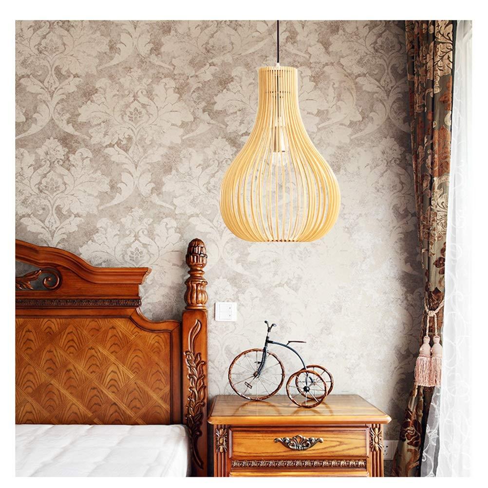 ペンダントライト 北欧レストラン木製アートシャンデリア無垢材ペンダントライト寝室の装飾バーランプ天井照明 B07THSKMQH