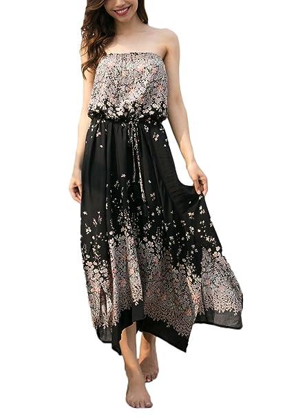 Vestidos Verano Woman Elegante Clásico Especial Bandeau Off Shoulder Espalda Abierta Midi Vestido Playa Moda Casual