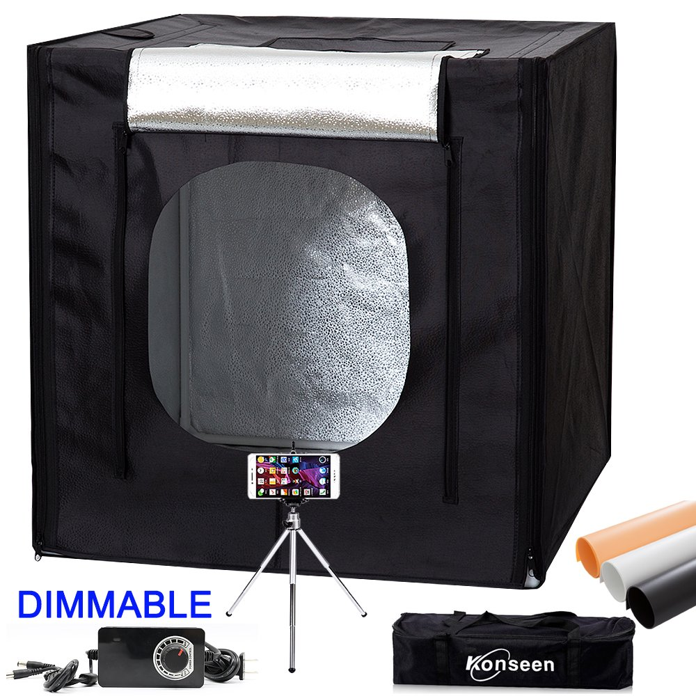 40''x40''x40'' LED Large Photography Shooting Tents 384pcs 5500K Lights Cube Box Tents Kit for Photo Studio Lighting with Dimmer Adapter,Mini Tripod and 3 Colors PVC Backgrounds in Carrying Bag by Konseen (Image #2)