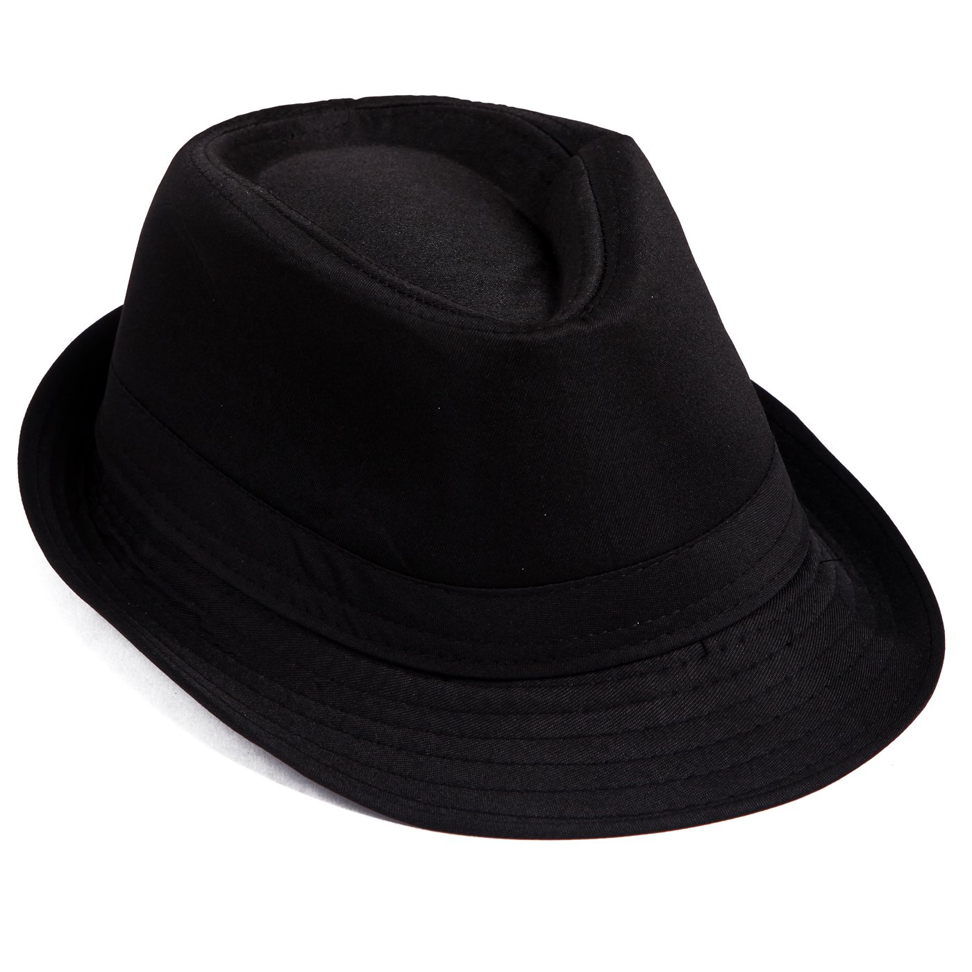 477279803ff HDE Kid s Short Brim Trilby Fedora Hat (Black) at Amazon Men s Clothing  store