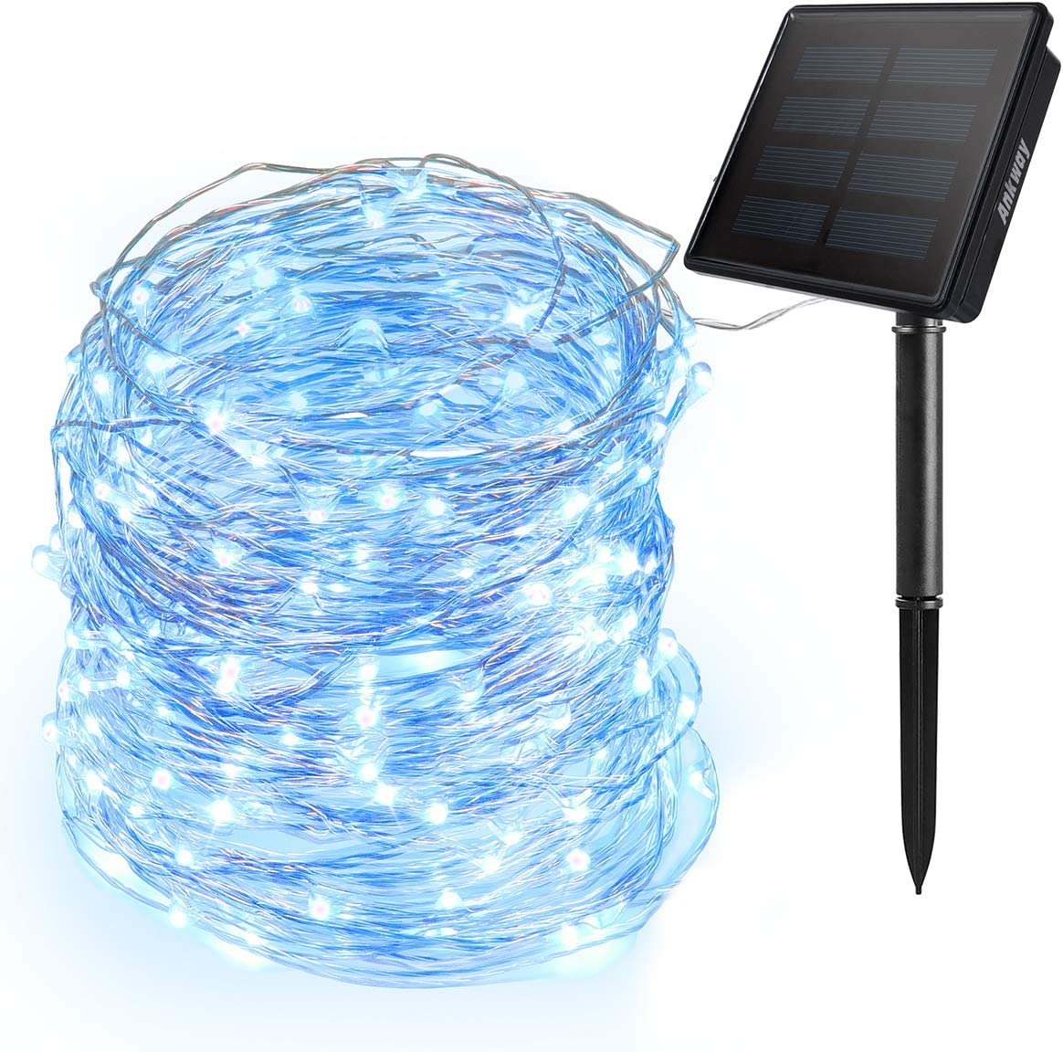 Ankway Solar String Lights Blue 200 LED Solar Fairy Lights 3-Strand Copper Wire Light 8 Modes 72ft Outdoor String Lights Waterproof Twinkle Lights for Patio Tree Garden Fence Indoor Wedding Party